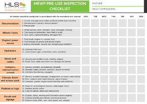 HLS MEWP daily inspection checklist