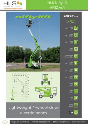 HLS Niftylift HR12 4x4 spec sheet download