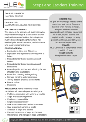 HLS course guide for steps and ladders training