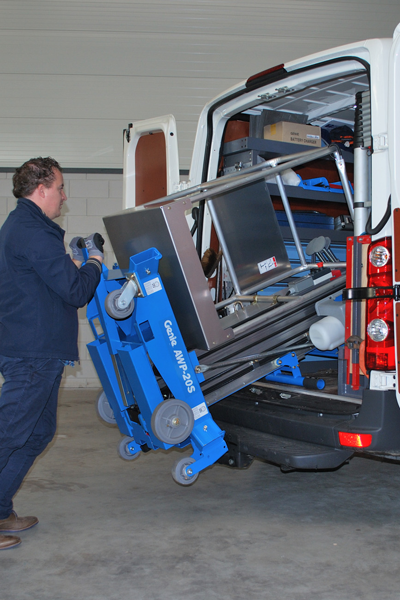 Genie AWP 20s being loaded into a van