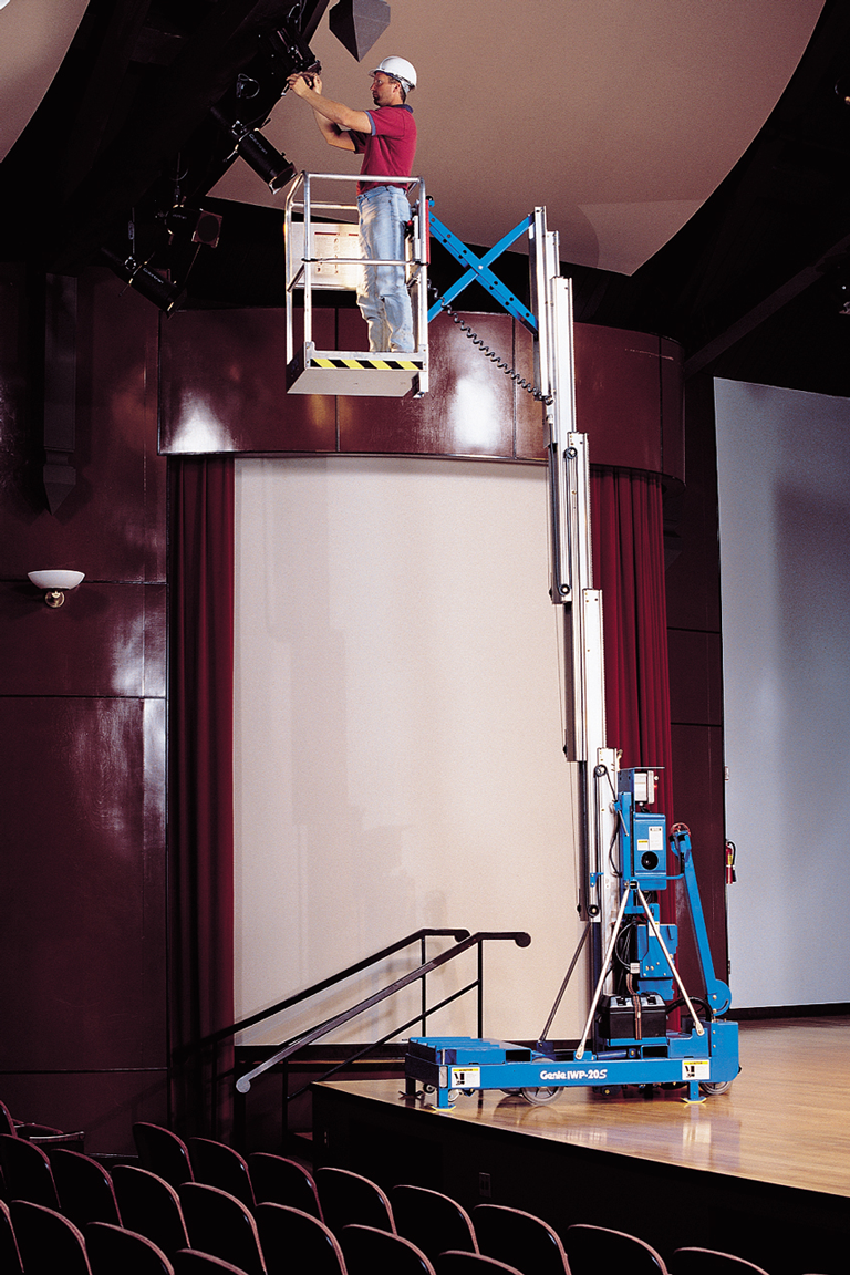 Genie IWP industrial work platform with outreach option working in theatre