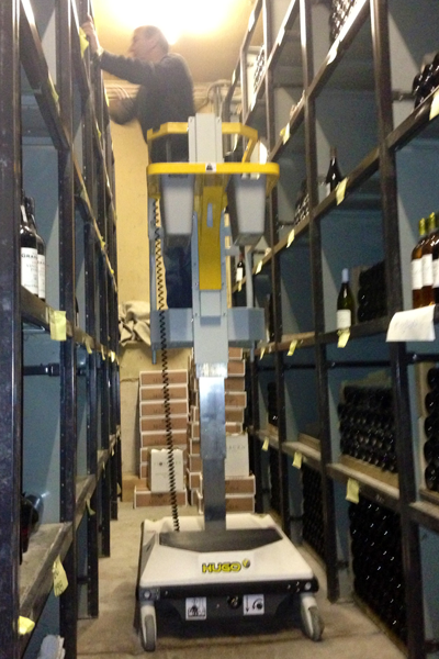 Hugo lift in wine cellar