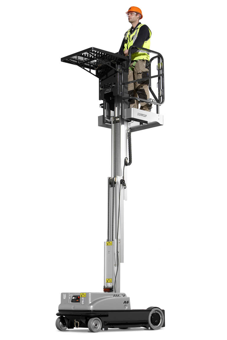 JLG 10MSP Driveable Stock Picker vertical mast lift with shelf