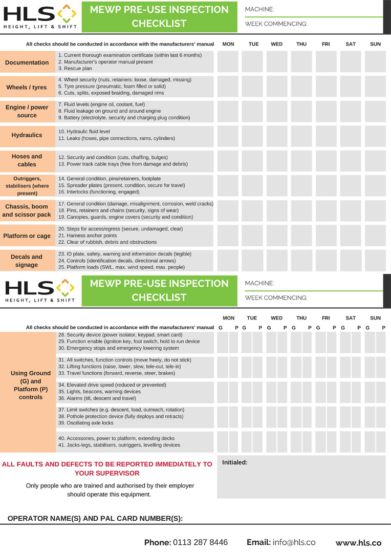 HLS_MEWP_PRE-USE_INSPECTION_CHECKLIST PREVIEW