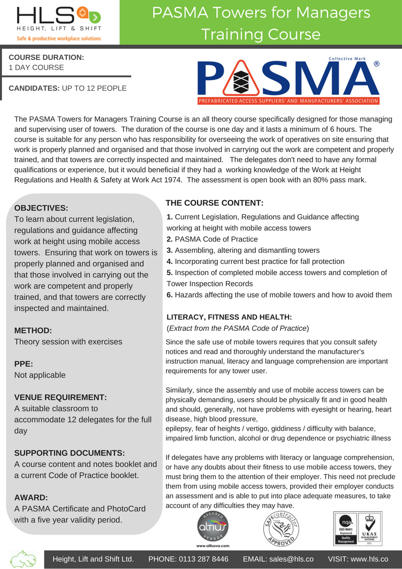 Pasma Towers for managers course guide
