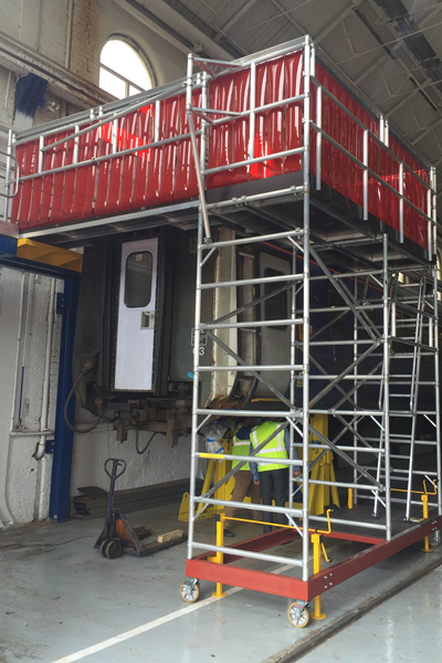 bespoke access platform to reach train roof