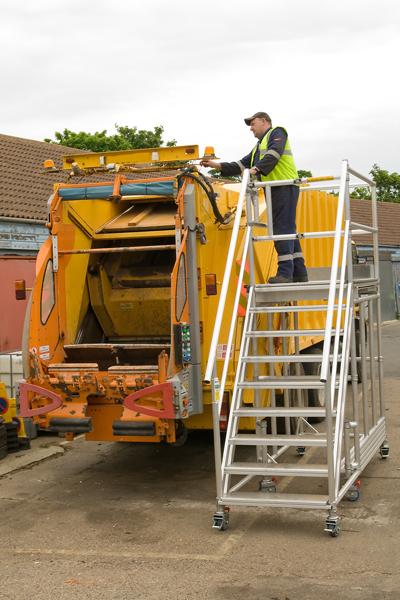 Bespoke access platform to access refuse truck