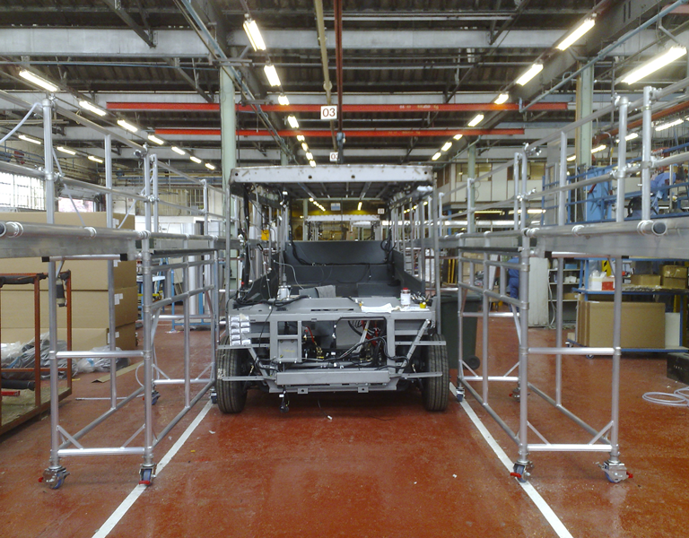 Bespoke platforms to access vehicle in build